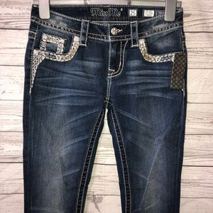 NWT Miss Me bedazzled mid rise bootcut Jeans sz 25
